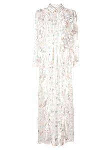 Huishan Zhang floral print pearl maxi dress - White
