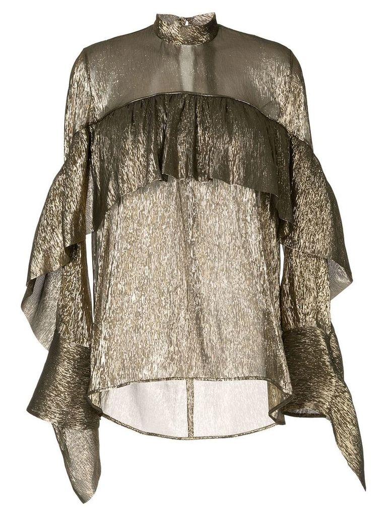Petar Petrov sheer ruffled blouse - Gold