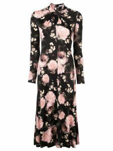 Erdem rose print midi dress - Black