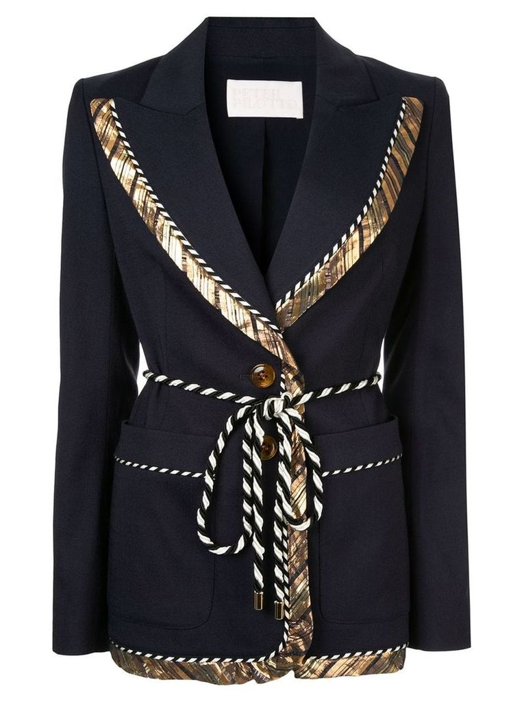 Peter Pilotto gold trim rope tie blazer - Blue