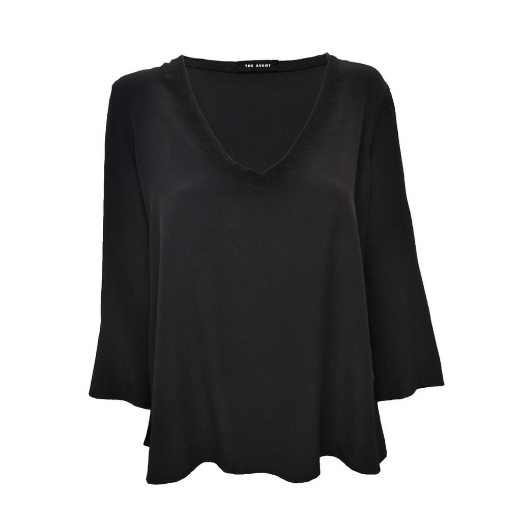 THE AVANT - Charcoal Silk V-Neck Blouse
