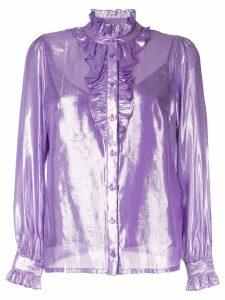 Baum Und Pferdgarten ruffled neck blouse - Purple