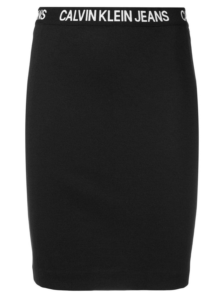 Calvin Klein Jeans logo band pencil skirt - Black