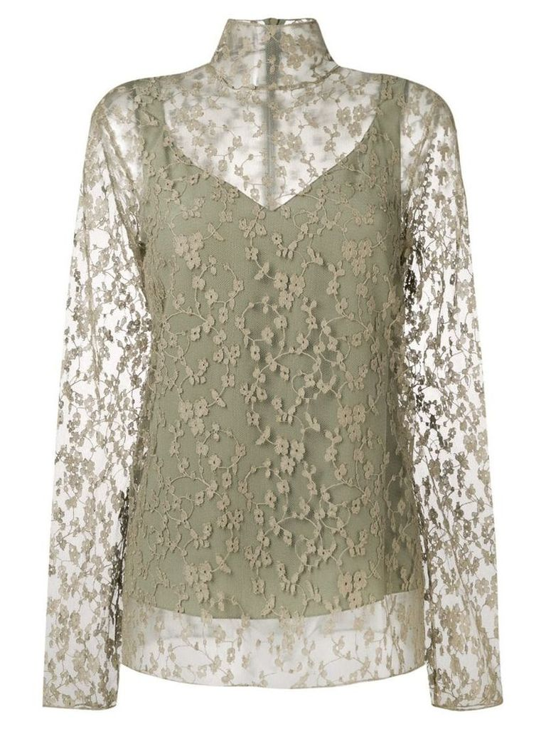 Chloé sheer floral blouse - Green