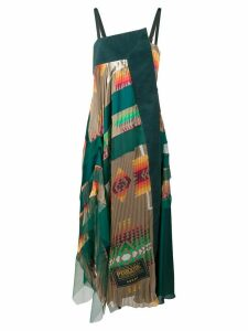 Sacai pleated maxi dress - Green