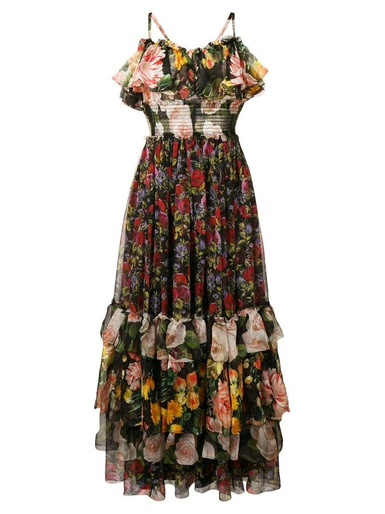 Dolce & Gabbana floral print layered dress - Black