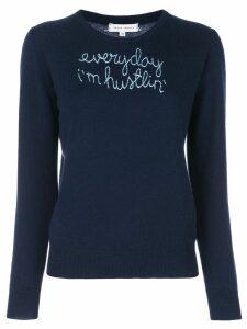 Lingua Franca embroidered cashmere jumper - Blue