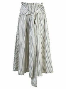 Rosetta Getty striped flared midi skirt - White