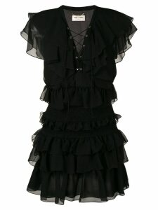 Saint Laurent ruffle mini dress - Black