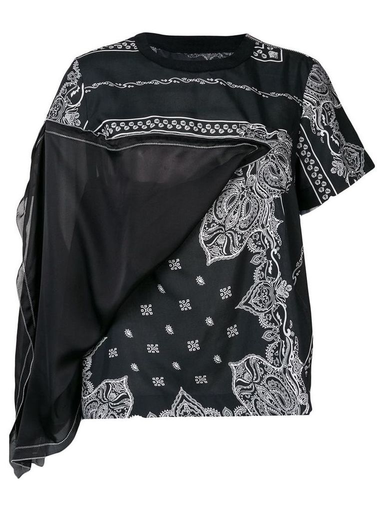 Sacai bandana pattern T-shirt - Black