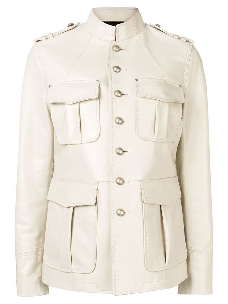 Saint Laurent military styled-jacket - Neutrals