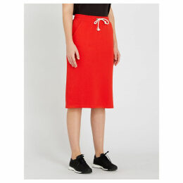 Patch cotton-blend midi skirt