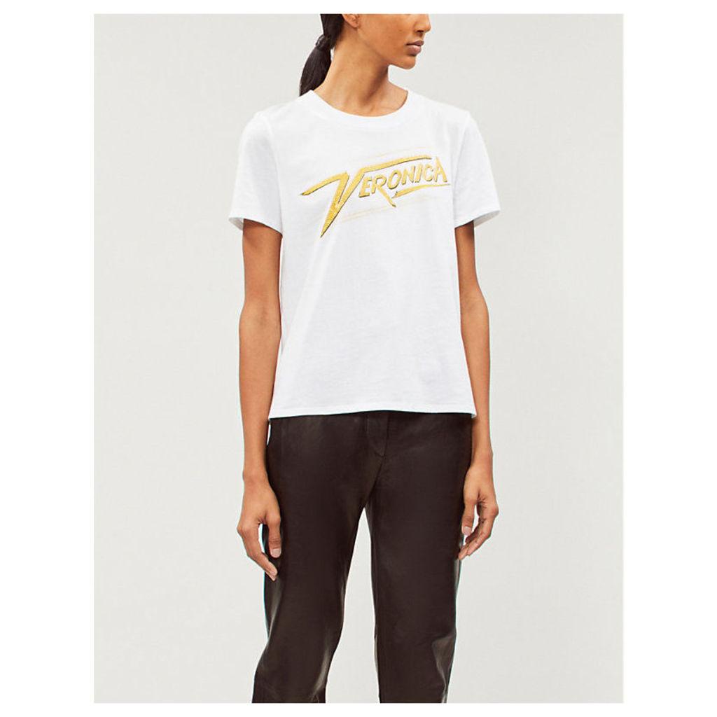 Veronica embellished logo-print cotton-jersey T-shirt