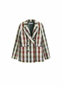 Structured linen checked blazer