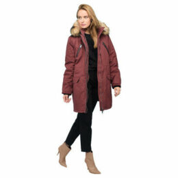 Rodier  Faux fur hooded parka  women's Parka in Red