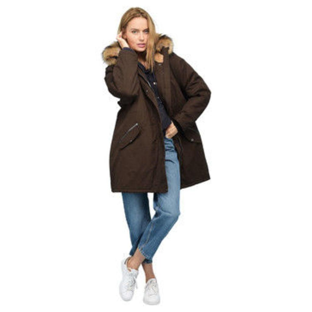Rodier  Faux fur hooded parka  women's Parka in Brown