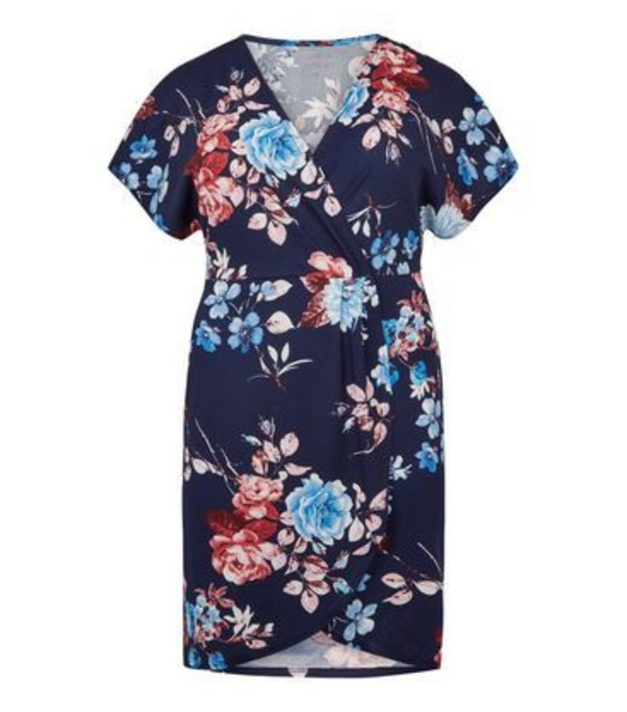 Mela Curves Floral Wrap Dress New Look