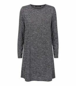 Dark Grey Long Sleeve T-Shirt Dress New Look