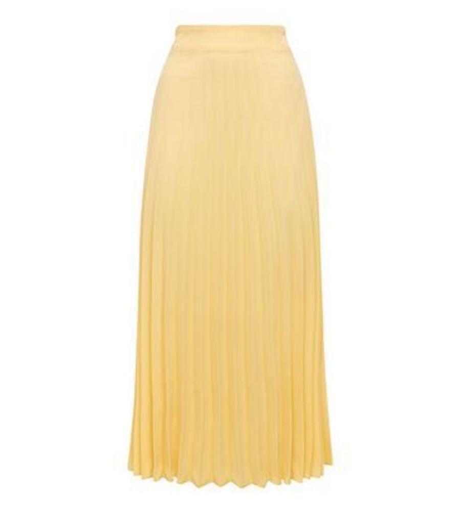 Pale Yellow Pleated Midi Skirt New Look