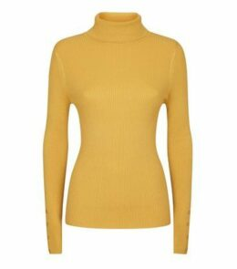 Mustard Roll Neck Button Cuff Jumper New Look