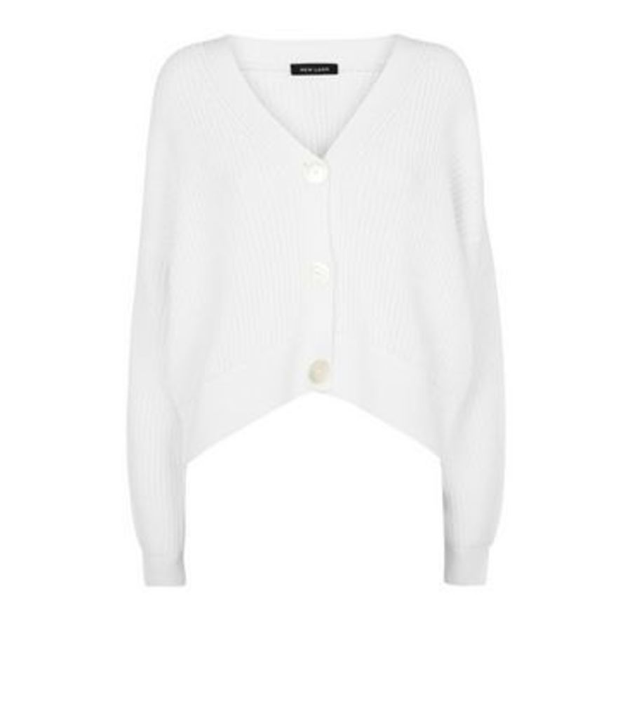 Off White Button Front Cardigan New Look