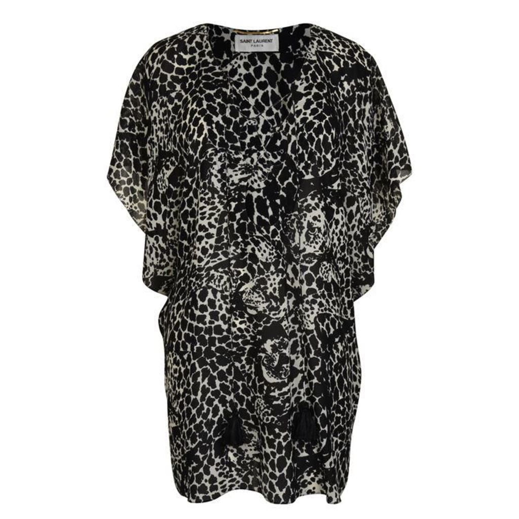 SAINT LAURENT Leopard Kaftan Dress