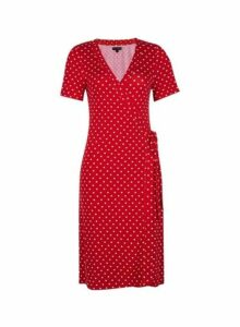 Womens Red Spot Print Wrap Dress- Red, Red