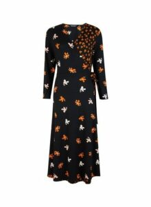 Womens **Tall Black Floral Print Midi Fit And Flare Dress- Black, Black