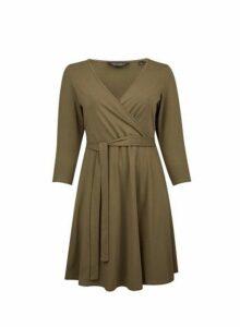 Womens **Dp Curve Khaki 3/4 Sleeve Wrap Dress- Khaki, Khaki
