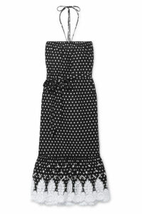 Miguelina - Emery Crocheted Polka-dot Cotton-voile Midi Dress - Black