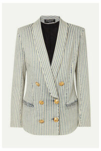 Balmain - Double-breasted Striped Stretch-denim Blazer - Light blue