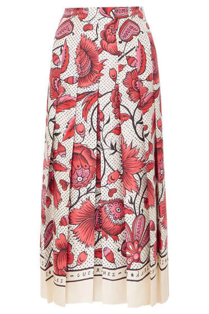 Gucci - Pleated Floral-print Silk-twill Skirt - Red