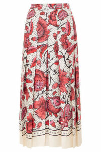 Gucci - Pleated Floral-print Silk-twill Skirt - Red
