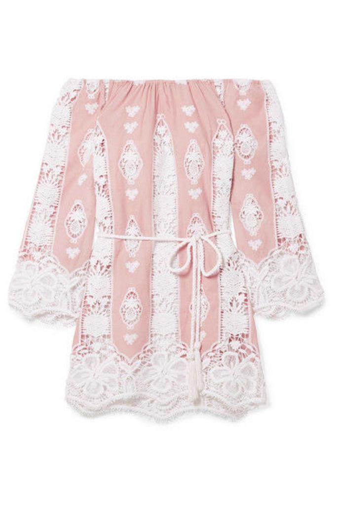 Miguelina - Bridgette Off-the-shoulder Crocheted Cotton-voile Mini Dress - Blush