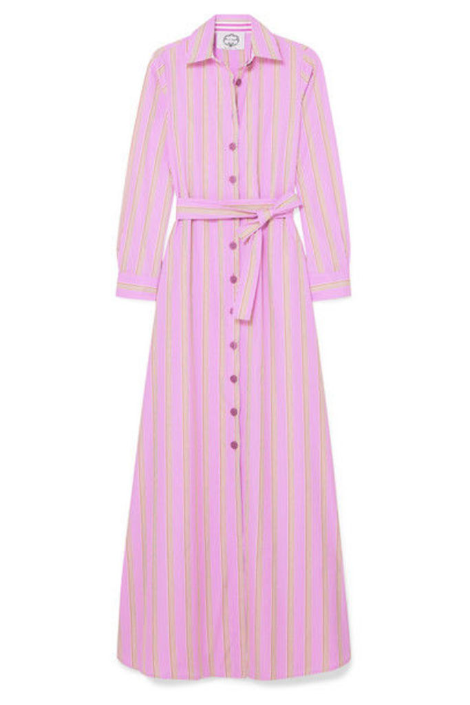 Evi Grintela - Valerie Belted Striped Cotton-poplin Maxi Dress - Pink