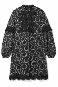 Anna Sui - Daisy Chain Crochet-trimmed Floral-print Chiffon Mini Dress - Black