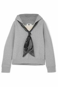 MM6 Maison Margiela - Satin-trimmed Cotton-jersey Hoodie - Gray