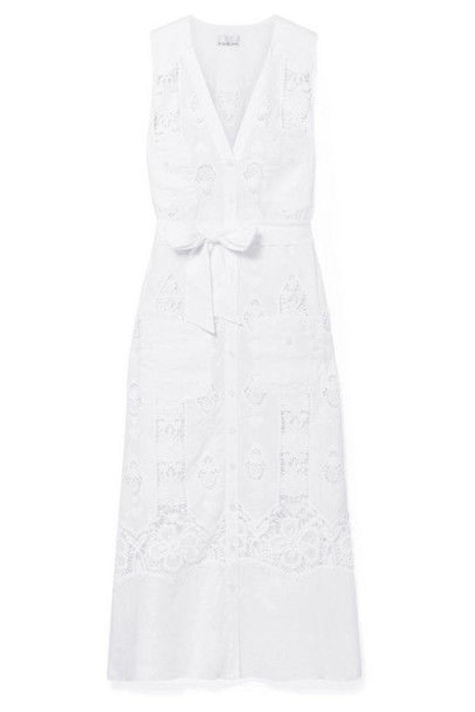 Miguelina - Alexia Guipure Cotton-lace And Linen Midi Dress - White