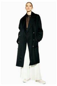 Womens **Unlined Double Breasted Coat By Boutique - Black, Black