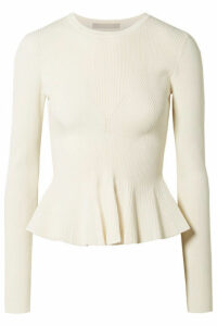 Jason Wu Collection - Ribbed-knit Peplum Sweater - White