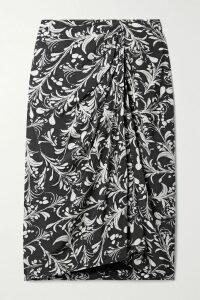 Maje - Belted Checked Rubberized Pu Trench Coat - Gray