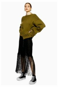 Womens **Fringe Knit Skirt By Boutique - Black, Black