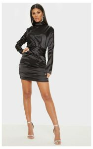 Black Satin High Neck Ruched Bodycon Dress, Black