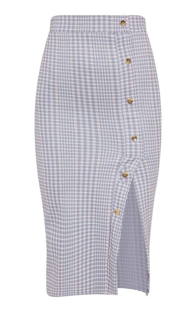 Grey Check Popper Front Detail Midi Skirt, Grey