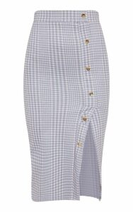 Grey Check Popper Front Detail Midi Skirt, Grey