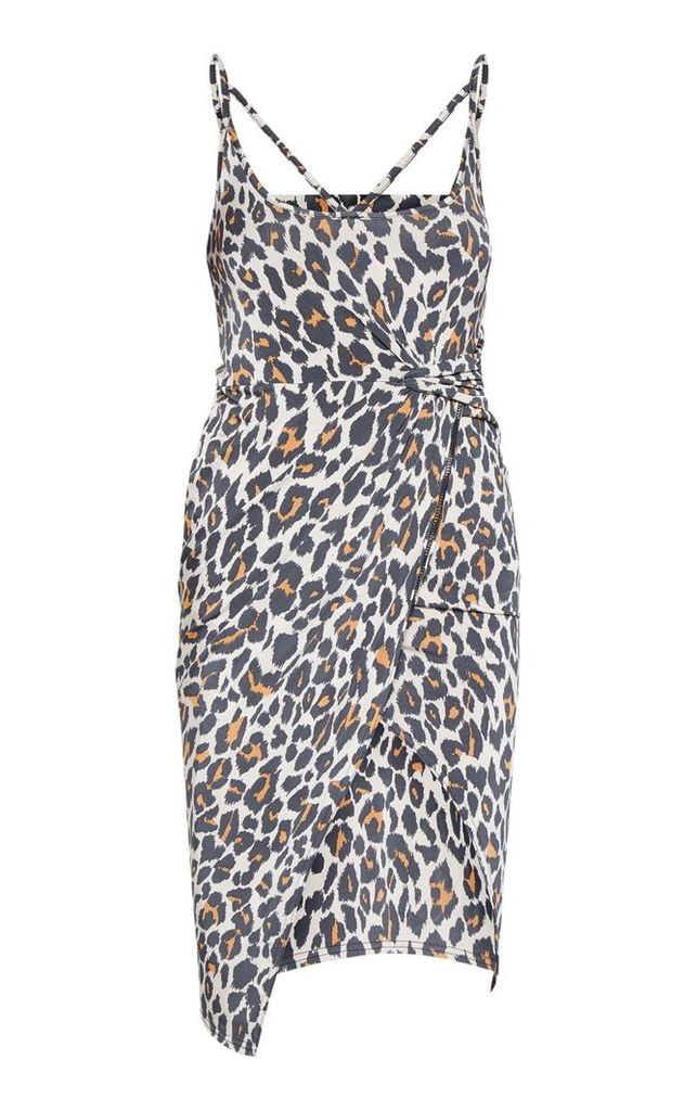 Tan Leopard Print Slinky Strap Detail Draped Midi Dress, Brown