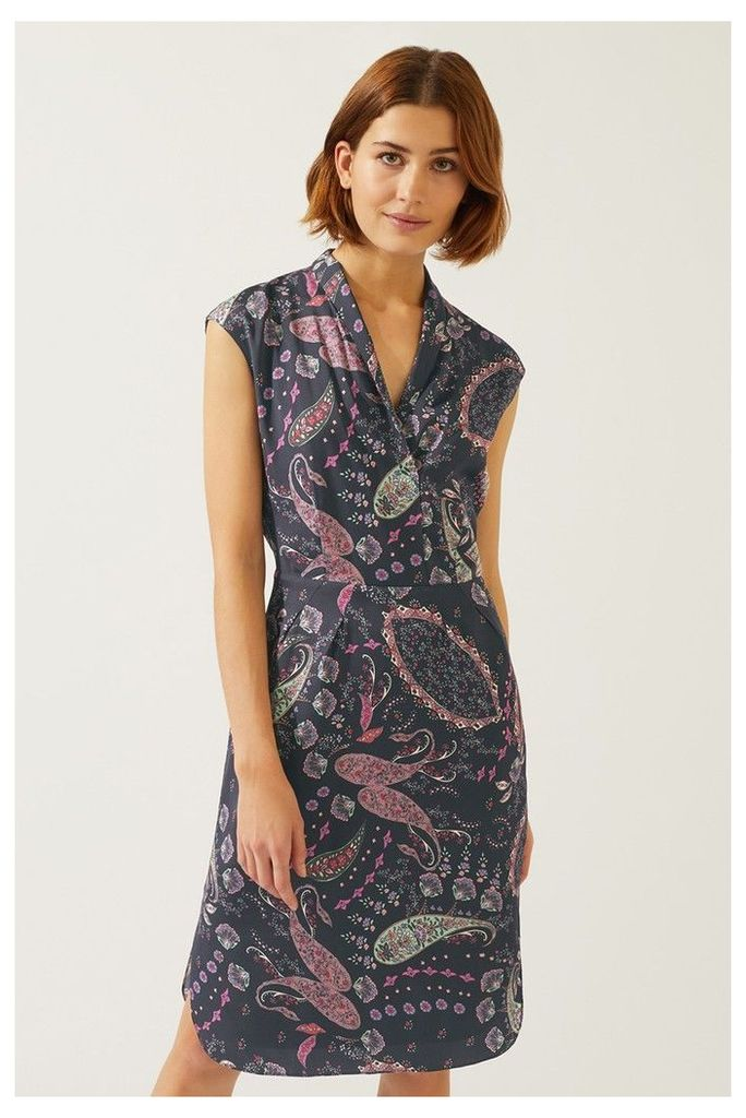 Womens Jigsaw Black Paisley Tulip Dress -  Black