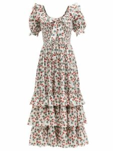 Thorsun - Georgie Hummingbird Print Cotton Poplin Shirt - Womens - Khaki Multi