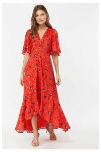 Womens Monsoon Ladies Red Natalie Print Hi Lo Dress -  Red