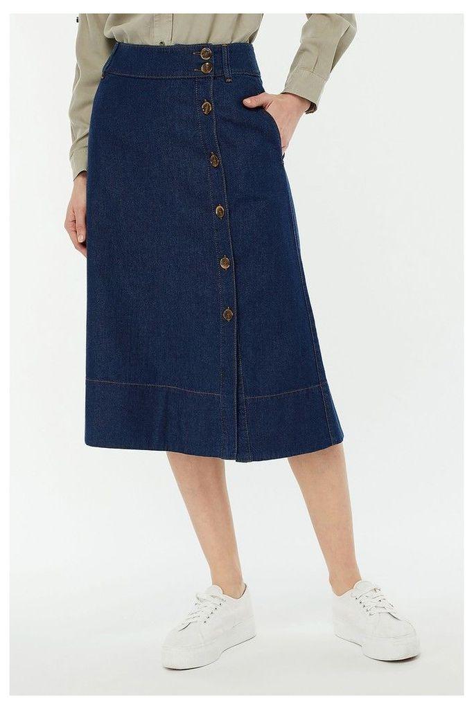 Womens Monsoon Ladies Blue Maya Midi Denim Skirt -  Blue